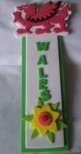 Welsh foam bookmark from Baker Ross complete with dragon and daffodil