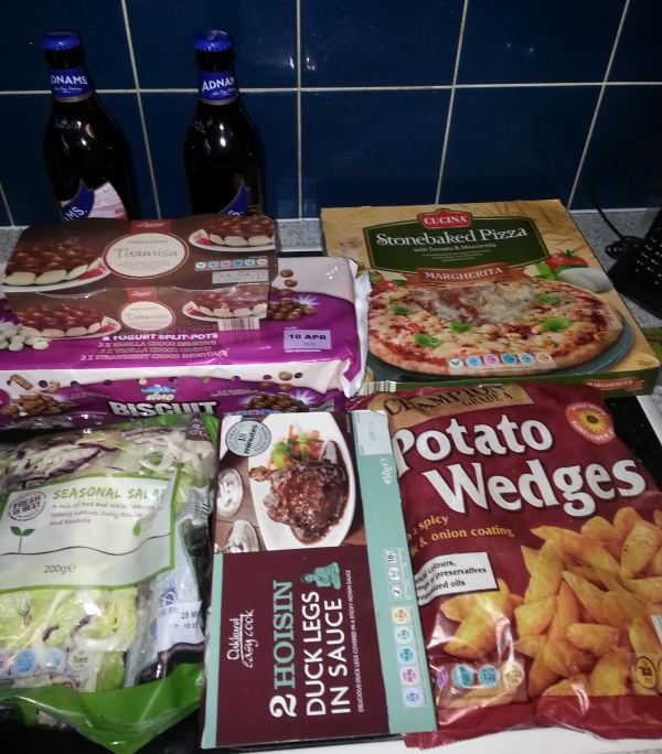 meal choice two - duck, pizza, wedges
