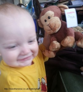 baby with cuddly toy monkey