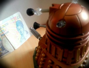 Dalek and five pound note