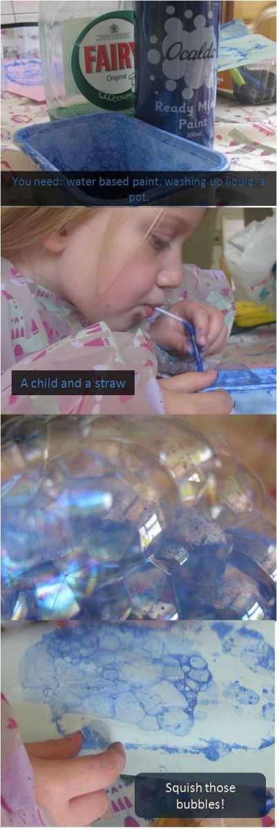 bubble art with text