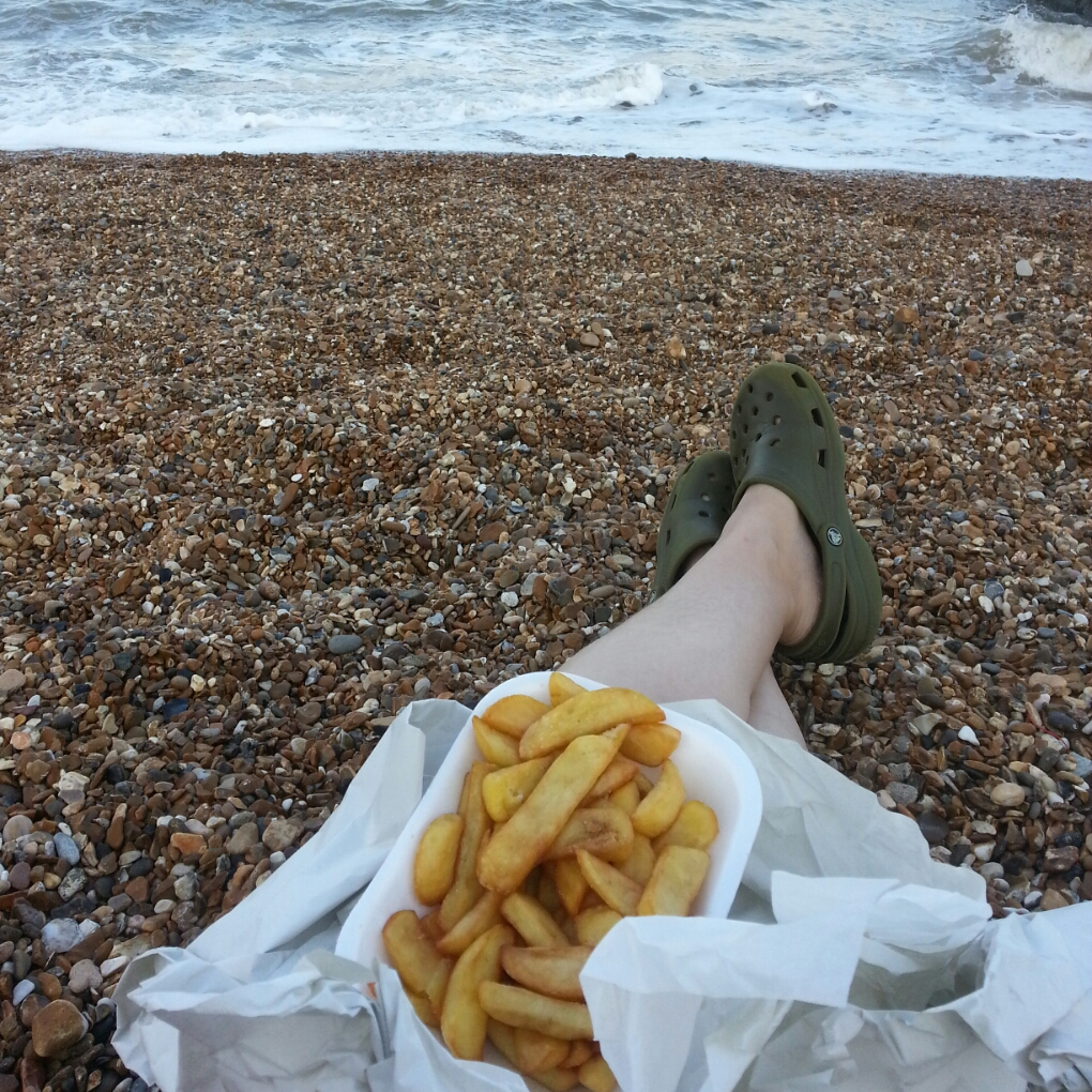 chips on a beach