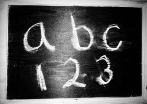 a b c 1 2 3 chalkboard