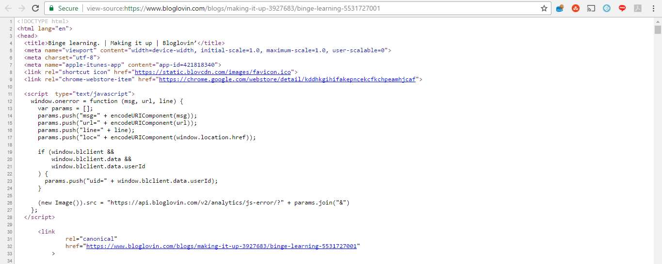 canonical code snippet from Bloglovin site