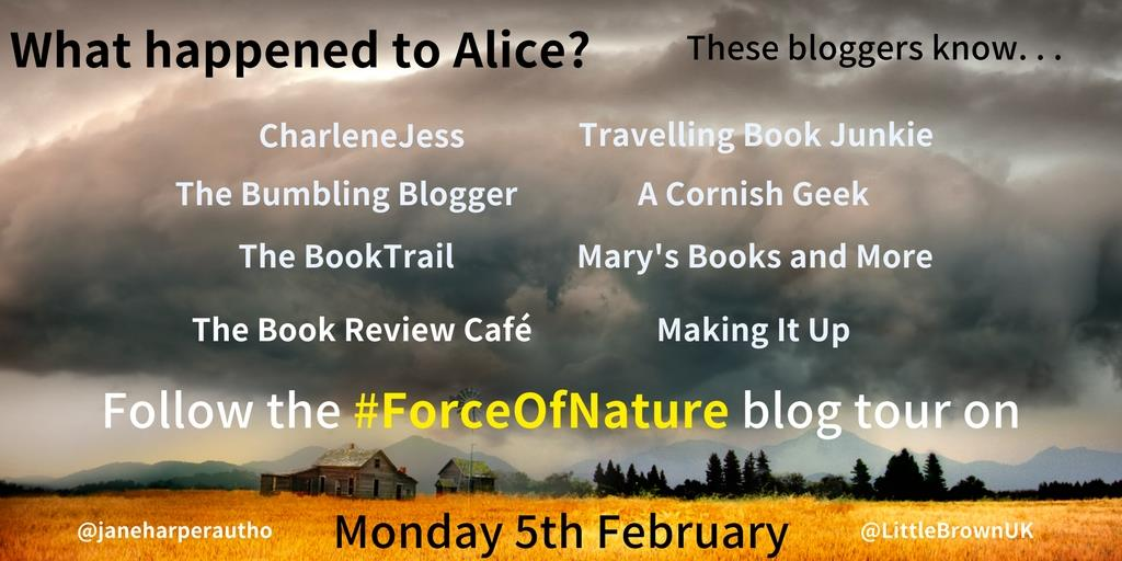 What happened to Alice?  Force of Nature blog tour banner