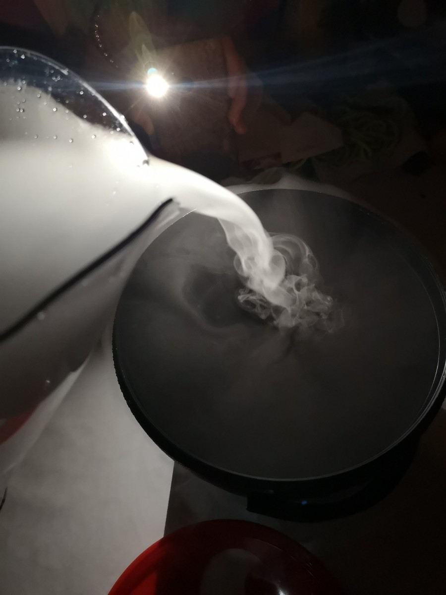 pouring dry ice in the dark